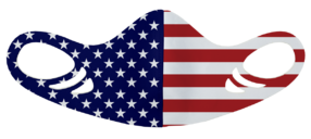 An antimicrobial, breathable, comfortable and washable American flag printed spacer face mask for kids